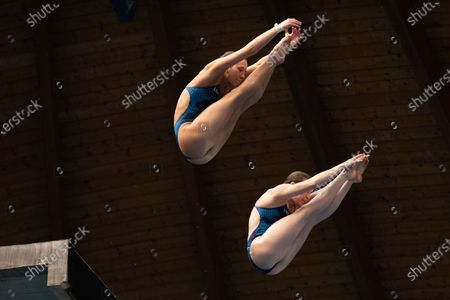 US divers Kassidy Cook y Sarah Bacon in action during the women's 10 meters synchronized dive finals in the framework of the FINA Diving Grand Prix Madrid 2020 at M86 swimming pools.