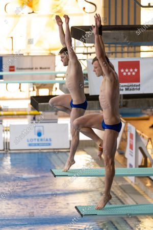 US divers David Boudia (L) and Steele Jhonson (R) 5in action during the men's 3 meters synchronized dive semifinals in the framework of the FINA Diving Grand Prix Madrid 2020 at M86 swimming pools in Madrid, Spain, 16 February 2020.