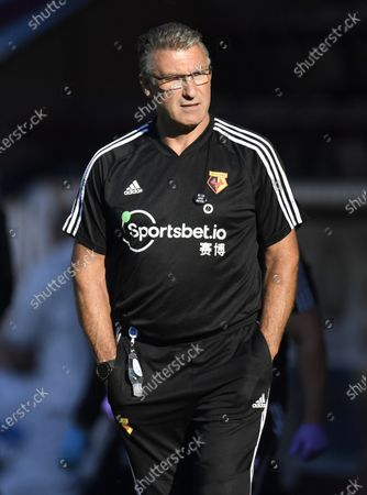 Stock Image of Watford's manager Nigel Pearson during the English Premier League match between Burnley and Watford in Burnley, Britain, 25 June 2020.