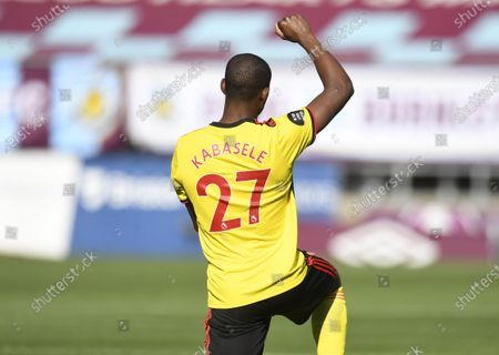 Christian Kabasele of Watford takes the knee during the English Premier League match between Burnley and Watford in Burnley, Britain, 25 June 2020.