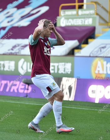 Matej Vydra of Burnley reacts after hitting the post during the English Premier League match between Burnley and Watford in Burnley, Britain, 25 June 2020.