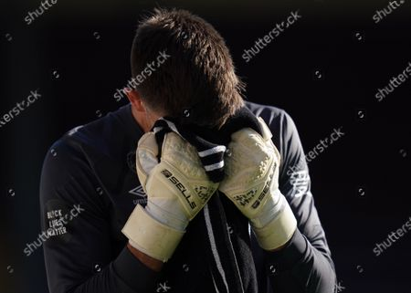 Nick Pope of Burnley reacts during the English Premier League match between Burnley and Watford in Burnley, Britain, 25 June 2020.