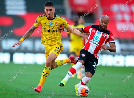 Southampton's Nathan Redmond (R) in action against Arsenal's Hector Bellerin (L) during the English Premier League soccer match between Southampton FC and Arsenal FC in Southampton, Britain, 25 June 2020.