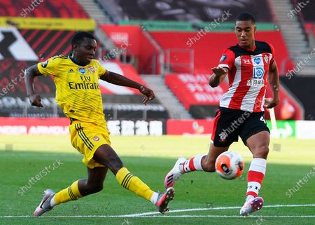 Arsenal's Eddie Nketiah (L) in action against Southampton's Yan Valery (R) during the English Premier League soccer match between Southampton FC and Arsenal FC in Southampton, Britain, 25 June 2020.