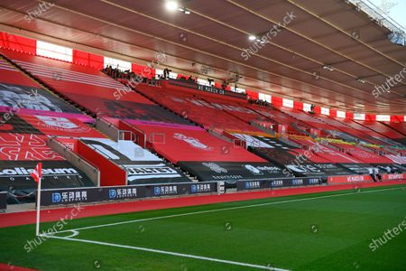 General view of empty stands at St Mary's Stadium before the English Premier League soccer match between Southampton FC and Arsenal FC in Southampton, Britain, 25 June 2020.
