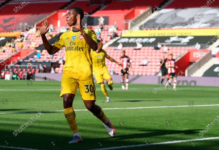 Stock Photo of Arsenal's Eddie Nketiah reacts during the English Premier League soccer match between Southampton FC and Arsenal FC in Southampton, Britain, 25 June 2020.