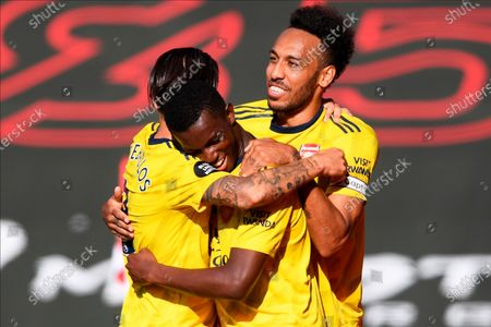 Arsenal's Eddie Nketiah (C) celebrates with teammates after scoring the 1-0 lead during the English Premier League soccer match between Southampton FC and Arsenal FC in Southampton, Britain, 25 June 2020.