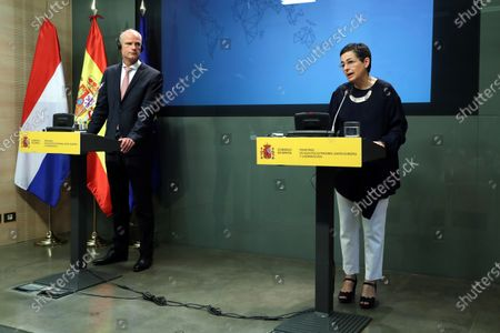 Spanish Foreign Affairs Minister Arancha Gonzalez Laya (R) speaks during a joint press conference with her Dutch counterpart, Stef Blok (L), after their bilateral meeting in Madrid, Spain, 25 June 2020.
