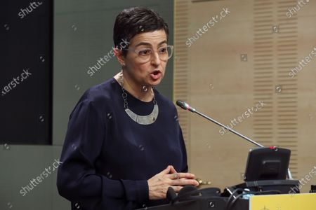 Spanish Foreign Affairs Minister Arancha Gonzalez Laya speaks during a joint press conference with her Dutch counterpart, Stef Blok (not pictured), after their bilateral meeting in Madrid, Spain, 25 June 2020.