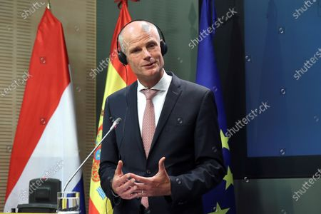 Dutch Foreign Affairs Minister Stef Blok speaks during a joint press conference with his Spanish counterpart, Arancha Gonzalez Laya (not pictured), after their bilateral meeting in Madrid, Spain, 25 June 2020.