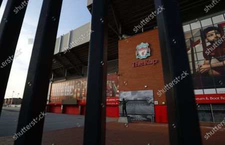 Exterior view of the 'Kop' end of Anfield stadium in Liverpool, Britain, 25 June 2020. Liverpool FC could be crowned champions of the Premier League for the first time in three decades in the event that Manchester City FC were to fail to beat Chelsea FC in their ongoing duel. If City draw or lose, it would mathematically hand the English top league title to the Liverpudlian club tonight.