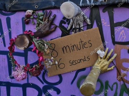 Part of a memorial to those killed by police, which refers to George Floyd is pictured in the Capitol Hill Occupied Protest, and area near an abandoned police precinct where activists continue protest, in Seattle, Washington, USA, 25 June 2020. Seattle mayor Jenny Durkan has called for the protest to be disbursed and for the precinct to be reoccupied, but remaining protesters have moved their tents closer to the police station and refuse to leave until their demands are met, which include a 50 percent cut the Seattle Police Department budget.