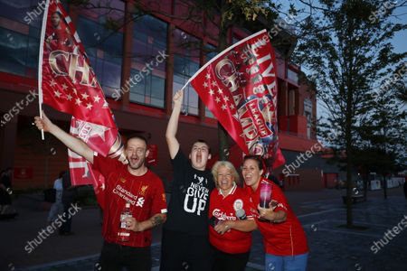Stock Picture of Liverpool FC fans celebrate outside Anfield stadium in Liverpool, Britain, 25 June 2020. Liverpool have been crowned champions of the Premier League for the first time in three decades after Chelsea FC beat Manchester City FC 2-1. Man City's failure to win this crucial duel mathematically handed the English top league title to the Liverpudlian club led by German manager Juergen Klopp.