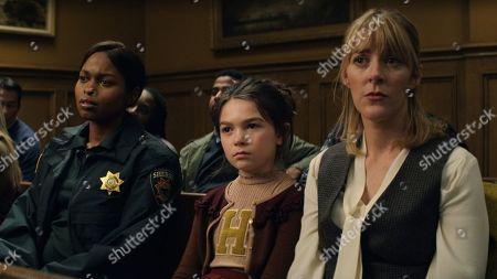 Stock Picture of Aziza Scott as Deputy Mackenzie 'Trip' Johnson III, Brooklynn Prince as Hilde Lisko and Abby Miller as Bridget Jensen