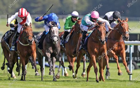 Under The Stars ridden by P.J McDonald (left) wins the EBF Eternal Fillies' Stakes at Haydock Racecourse. PA Photo. Issue date: Thursday June 25, 2020. See PA story RACING Haydock. Photo credit should read: David Davies/PA Wire, supplied by Hugh Routledge.