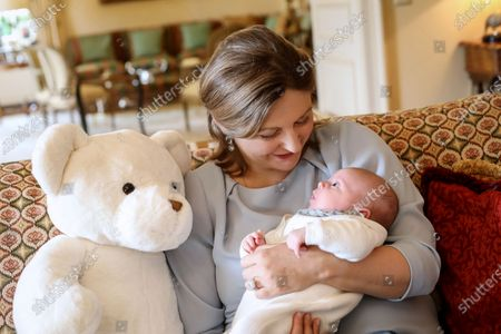 First family pictures with the new born Prince Charles of Luxembourg, future Grand-Duke of Luxembourg, in the Castle of Fischbach. Crown Princess Stephanie of Luxembourg holding Prince Charles of Luxembourg.
