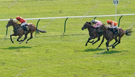 NEWMARKET, ENGLAND - JUNE 26: PJ McDonald riding Bondi Sands win The Betway Handicap at Newmarket Racecourse on June 26, 2020 in Newmarket, England. Horseracing continues behind closed doors due to the Coronavirus pandemic. (Photo by Alan Crowhurst/Getty Images), supplied by Hugh Routledge.