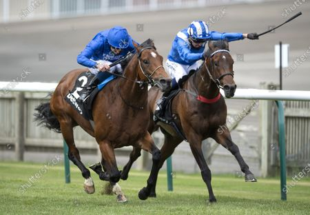 Boccaccio (William Buick,left) wins the 7f  Betway Handicap beating Gifted Ruler (out of frame)Newmarket 27.6.20 Pic: Edward Whitaker/ Racing Post, supplied by Hugh Routledge.