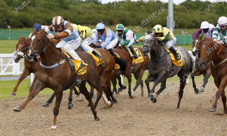 Caspian Prince and Tom Marquand winning The Betfair Free Bet Streak Gosforth Park Cup Handicap StakesNewcastle 27.6.2020Dan Abraham, supplied by Hugh Routledge.