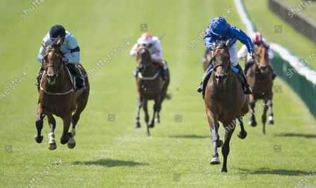 Volkan Star (William Buick,right) beats Thunderous (Ryan Moore) in the Betway Fairway Stakes (Listed race)Newmarket 27.6.20 Pic: Edward Whitaker/ Racing Post, supplied by Hugh Routledge.