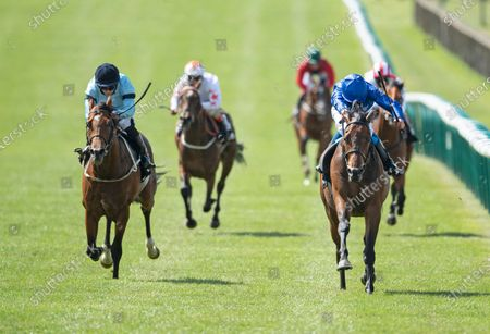 Stock Image of Volkan Star (William Buick,right) beats Thunderous (Ryan Moore) in the Betway Fairway Stakes (Listed race)Newmarket 27.6.20 Pic: Edward Whitaker/ Racing Post, supplied by Hugh Routledge.