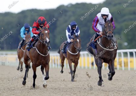 Toussarok and PJ McDonald (right) winning The Setting The Odds on The Betfair Exchange/EBF Novice StakesNewcastle 27.6.2020Dan Abraham, supplied by Hugh Routledge.