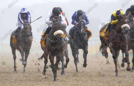 Judicial and Callum Rodriguez (blck cap) winning The Betfair Backs Racing Welfair Chipchase StakesNewcastle 27.6.2020Dan Abraham, supplied by Hugh Routledge.