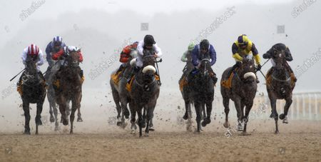 Judicial and Callum Rodriguez (blck cap white sleeves) winning The Betfair Backs Racing Welfair Chipchase StakesNewcastle 27.6.2020Dan Abraham, supplied by Hugh Routledge