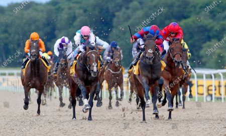 Caravan Of Hope and Harry Bentley (blue and maroon) winning The Betfair Northumberland Plate Handicap Stakes from CollideNewcastle 27.6.2020Dan Abraham, supplied by Hugh Routledge.