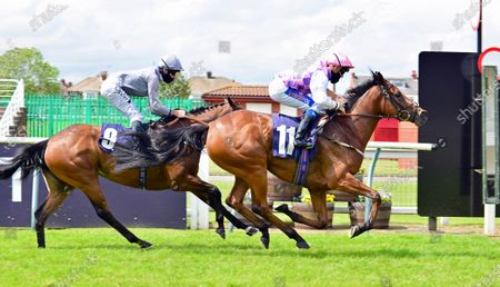 Imperial Gloriana and Shane Gray winning the Racing tv novice stakesRedcar 27th June 2020pics Tony Knapton, supplied by Hugh Routledge.
