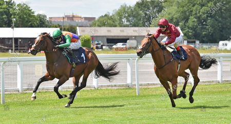 (L) Deliver The Dream (Charles Bishop) wins The Visit attheraces.com Maiden Stakes from (R) Lockdown (Andrea Atzeni).