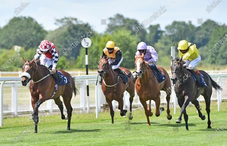 (L) Kafee (David Probert) wins The Sky Sports Racing 415 Maiden Stakes (Div l) from (R) Rideson Andrea Atzeni).