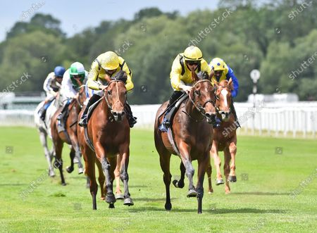 (R) Baarrji (Tom Marquand) wins The Sky Sports Racing 415 Maiden Stakes (Div ll) from (L) Hot Summer (Sean Levey).