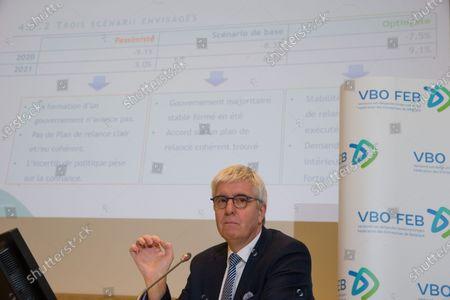 FEB-VBO CEO Pieter Timmermans pictured during a press conference of the VBO-FEB (Federation of Enterprises in Belgium - Verbond van Belgische Ondernemingen - Federation des Entreprises de Belgique) called Focus Conjuncture, in Brussels, Friday 26 June 2020.