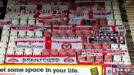 Brentford Supporters' flags in seats