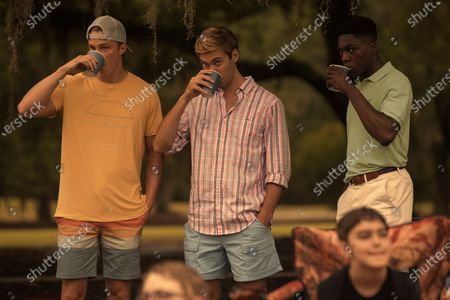 Drew Starkey as Rafe Cameron, Austin North as Topper and Deion Smith as Kelce