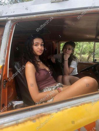 Madison Bailey as Kiara and Madelyn Cline as Sarah Cameron
