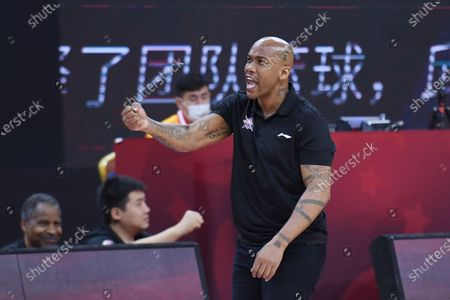 Stephon Marbury, head coach of Beijing Royal Fighters, reacts during a match between Beijing Royal Fighters and Shanxi Loongs at the newly resumed 2019-2020 Chinese Basketball Association (CBA) league in Dongguan, south China's Guangdong Province, June 26, 2020.