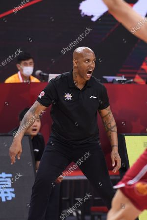 Stock Image of Stephon Marbury, head coach of Beijing Royal Fighters, reacts during a match between Beijing Royal Fighters and Shanxi Loongs at the newly resumed 2019-2020 Chinese Basketball Association (CBA) league in Dongguan, south China's Guangdong Province, June 26, 2020.