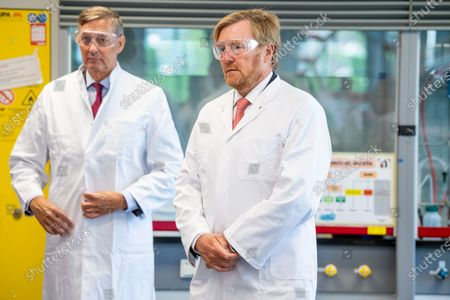 Stock Picture of King Willem-Alexander during a working visit to Avans University in Breda. The visit focuses on the impact of the corona outbreak on education.