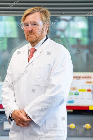 Stock Photo of King Willem-Alexander during a working visit to Avans University in Breda. The visit focuses on the impact of the corona outbreak on education.