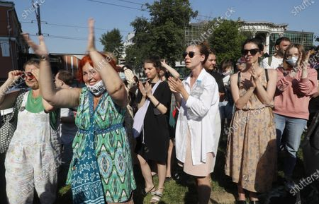 Stock Picture of Several hundred actors and supporters of director Kirill Serebrennikov gather outside the Meschansky district court to oppose the verdict in Moscow, Russia, 26 June 2020. Moscow avant-garde theater Gogol Center artistic director Kirill Serebrennikov and other defendants in the so-called Studio Seven case are accused on being involved in the alleged embezzlement of state art funds allocated between 2011 and 2014 for the theatrical project Platforma. The prosecutor demanded for Serebrennikov six years in prison.