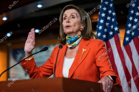 US Speaker of the House Nancy Pelosi speaks about President Trump's attempt to overturn the Affordable Care Act in the US Capitol in Washington, DC, USA, 26 June 2020. She also spoke about the DC statehood vote, and coronavirus testing.