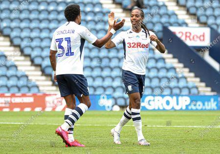 Daniel Johnson of Preston North End celebrates scoring to make it 1-1