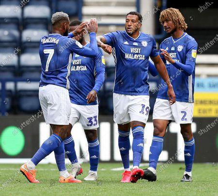 Nathaniel Mendez-Laing of Cardiff City celebrates scoring the 2nd goal