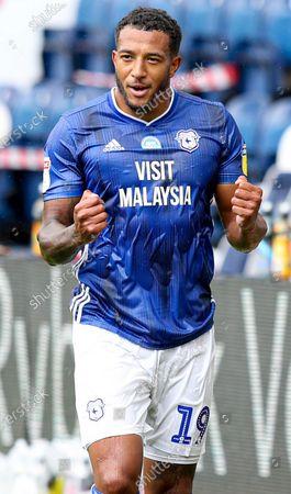 Nathaniel Mendez-Laing of Cardiff City celebrates at full time