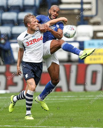 Curtis Nelson of Cardiff City and Jayden Stockley of Preston North End