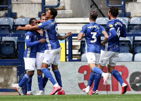 Joe Ralls of Cardiff City celebrates scoring the 1st goal