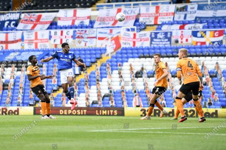 Jeremie Bela of Birmingham City heads towards goal.