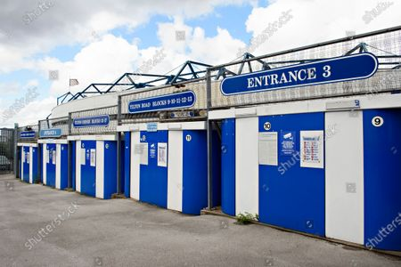 The turnstiles are all shut up prior to kick off.
